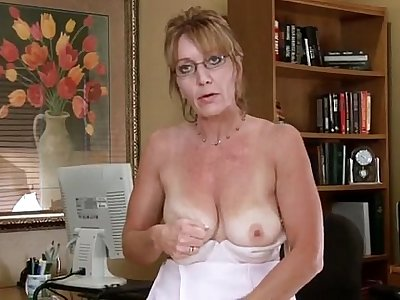 Big Tits Mature Office Masturbation