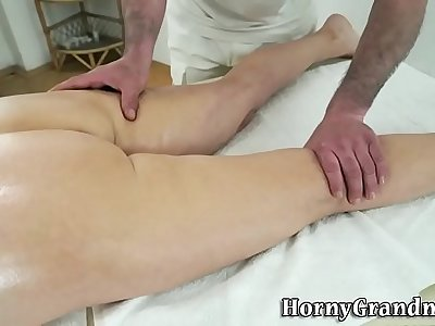 Massaged granny jizzed