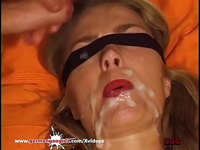 Busty MILF used as Cum Target in huge bukkake gangbang - German Goo Girls