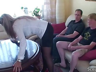 Two Young Boys Seduce German MILF to Fuck